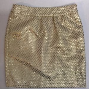 ECI Holiday Gold Sparkle Lined Skirt with Zipper